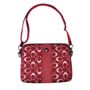 Coach iPad Crossbody Bag Red Silver Tablet